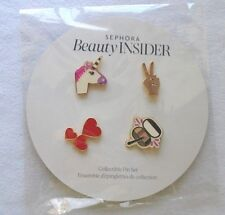 Sephora Beauty Insider Collectible Pin Set Unicorn, Hearts, Peace & Makeup NEW