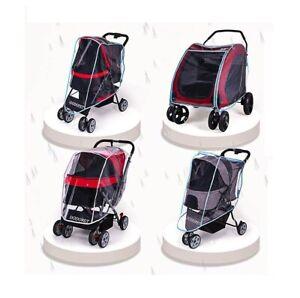 Pet Stroller Rain Cover Waterproof Outdoor Cat Dog Cart Carrier Folding Travel