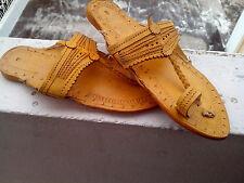 women US 6 handmade leather sandal shoes buffalo leather traditional mojari flip