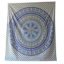 Couverture indienne Tenture Éléphants Paon Mandala Violet 230x210 cm Coton Déco