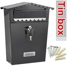 New Steel Wall Mount Letter Mailbox Mail Boxes w/ Retrieval Door & 2 Keys Black