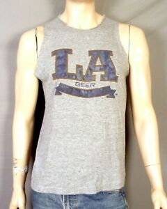 vintage 70s 80s Velva Sheen Rayon Tri Blend LA Beer T-Shirt Olympics Cut sz L