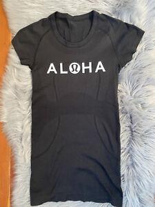 Lululemon Run: Swiftly Tech 2.0 City Short Sleeve Crew 2 Aloha Hawaii Black RARE