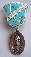 Médaille religieuse argentée et émaillée, diocèse de BEAUVAIS, avec épingle.