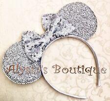 Minnie Mouse Sparkly Silver Ear Headband Silver Sequin Bow Bridal Disney Wedding