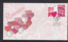 AUSTRALIA - 2014 VALENTINE DAY Love Hearts and Roses Joined Pair on FDC