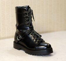 1800$ VALENTINO GARAVANI Rockstud black chunky lace up combat boots 39 us8.5 uk6