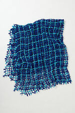Anthropologie Netted Throw Lightweight Blue Blanket Wrap Home By Paola Navone