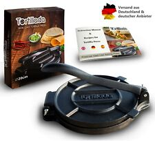 Tortillada - Premium Tortillapresse aus Gusseisen Tortilla Presse + Rezepte 20cm
