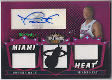 2007-08 TRIPLE THREADS RELICS AUTO #1: DWYANE WADE #4/9 AUTOGRAPH SWATCH HEAT