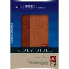 NLT Slimline Center Column Reference Bible (Tutone Brown/Tan Leather Like)