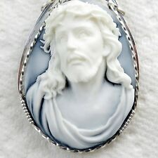 Crown Of Thorns Cameo Pendant .925 Sterling Silver Jewelry Spiritual White Resin