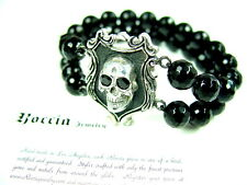 Men's Silver Skull  Onyx Bead Bracelet with Black Diamonds by Roccia
