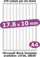 17.8x10mm 1350 Labels Matt White Paper 5 A4 Sheets Laser Copier Inkjet Stickers