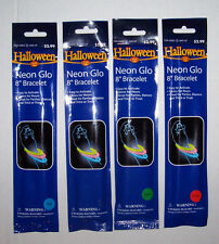 "LOT OF 4 NEON GLO 8"" BRACELET HALLOWEEN TRICK OR TREAT PARTIES NIP"