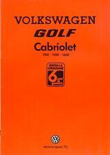 Volkswagen Golf Mk 1 Cabriolet 1100 1500 1600 sales brochure German market 1979