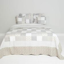 Clayre & Eef Bedspread Quilt Plaid Shabby Chic Country Style Grey/White Roses