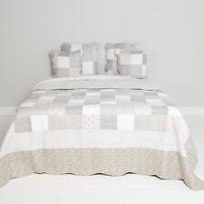 Clayre & Eef Tagesdecke Quilt Plaid Shabby Chic Landhausstil grau/weiß Rosen
