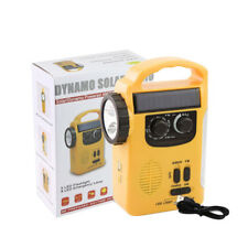 Portable FM/AM Radio Receiver Solar+Crank Power+Emergency Charger LED Flashlight