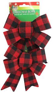 Christmas 2 Pack Medium Size Buffalo Plaid Bows Holiday Decor