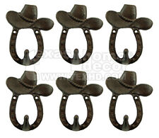 6 Rustic Western Cast Iron Horseshoe Hat Hook Key Rack Coat Hanger Wall Mounted