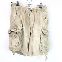 "Abercrombie & Fitch Cargo Shorts Mens 32 Distressed Beige Tan Khaki 10"" inseam"