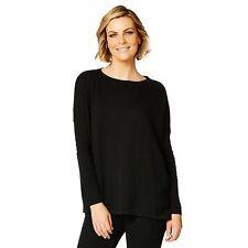 Oversized Crew Neck Knit Black Soft Cotton Shoulder Drop Top Label Size S RRP$39