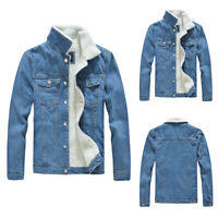 Men's Winter Denim Jackets Fur Lined Casual Style Warm Fleece Jean Coats Outwear