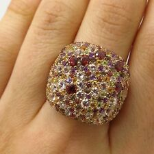 925 Silver Gold Plated Real Multi-Color Gemstone Wide Cluster Ring Size 7