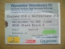 Ticket- England U19 International- ENGLAND U19 v SWITZERLAND U19, 16 Nov 2005