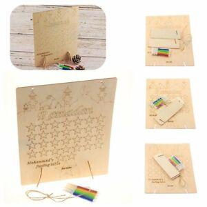 Wooden Ramadan Countdown Calendar DIY Graffiti EID Mubarak Decor with Pens HU
