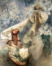 Mucha Alfons Madonna Of The Lilies Print 11 x 14  #3172
