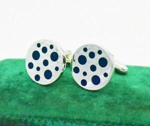 Vintage Sterling Silver Cufflinks Art Deco Blue Lapis Peaky Blinders Gift #L143