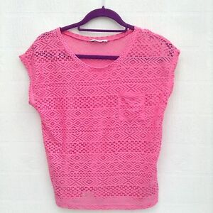 Pink Lace Top By George Size 10