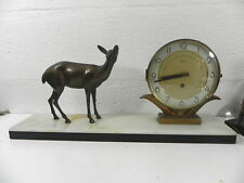 SILVOZ PARIS Horloge Pendule à la biche marbre 50cm ART DECO