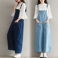 Women's Suspenders Pants Wider Legs Straights Jeans Overalls Jumpsuits Trousers