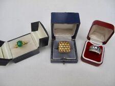 Job Lot 3 x 9ct Gold Plated Simulated Aquamarine Diamond Emerald Rings 17.8g