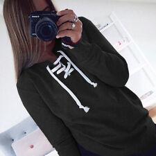 Womens Lace Up Hoodie Sweater Tops Ladies Sweatshirt Pullover Jumper Top Blouses