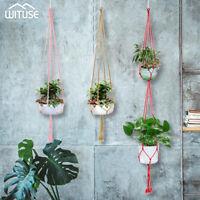 Macrame Flower Pot Plant Hanger Holder Colorful Cotton Rope for  Hanging Planter