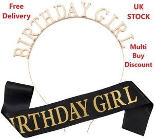 BLACK SASH BIRTHDAY GIRL TIARA RHINESTONE HEADBAND CROWN SASH PARTY WOMEN GIFT
