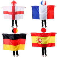 WORLD CUP FOOTBALL SUPPORTER WEARABLE FLAG CAPE 2018 COSTUME 5X3FT FANCY DRESS