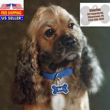 Bone shape Glitter  Custom Engraved Dog Cat Tags Personalized  & Free Split Ring