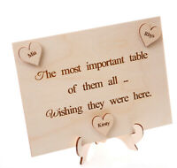 Wooden Wedding Plaque Wishing they were here with Personalised hearts and stand