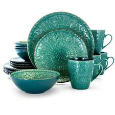Set Dinnerware 16 Piece Dishes Plate Mug Vintage Mosaic Service Sea Green New