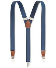 $95 NEW CLUB ROOM Men's BLUE SOLID ELASTIC STRETCH METAL CLIP-ON END SUSPENDERS