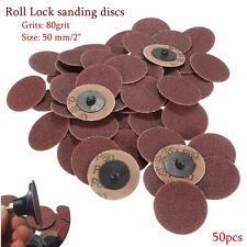 50Pcs 2inch 50mm Roloc Discs 80 Grit R Type Sanding Abrasive Roll Lock Abrasive