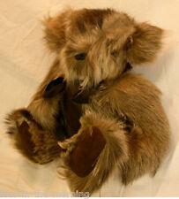 REAL FUR TEDDY BEAR JOINTED HANDMADE Raccoon Stuffed Animal Free Nespresso