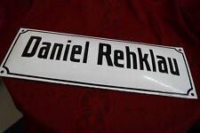 Emailschild   DANIEL REHKLAU   um 1920 schabloniert 46cm