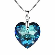 Moonlight Blue Love Heart 925 Silver Necklace Swarovski Elemen Valentine BERMUDA