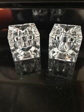 Set of 2 Clear Crystal Glass Square Candle Holders* Heart Design.